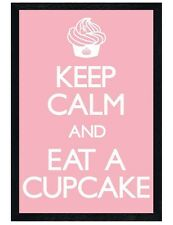 Black Wooden Framed Keep Calm and Eat a Cupcake Maxi Poster 61x91.5cm