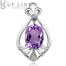 UP LINK Pear Aquamarine/Amethyst/Garnet 925 Sterling Silver Beauty Pendant