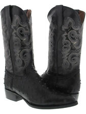 Men's Exotic Ostrich Quill Black Leather Cowboy Boots Western Wear Rodeo J Toe