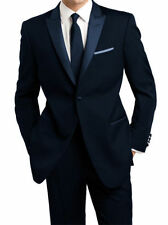 Downtown Midnight Blue and Black Tuxedo with Contrasting Black Satin Notch Lapel