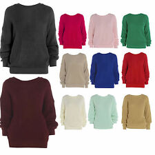 WOMENS LADIES PLAIN BAGGY STYLE JUMPER CHUNKY SWEATER KNITTED CASUAL JUMPER TOP