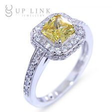 925 Sterling Silver Deluxe Astonishing Yellow Topaz CZ Jewelry Ring Sz 5 6 7 8 9