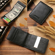Sale Man Genuine Leather Silver Money Clip Slim Wallets ID Credit Card Holder