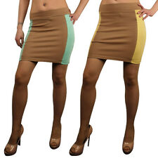 Women Sexy High Waisted Bodycon Mini Tube Skirt Short Stretch Block