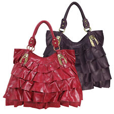 Ladies Womens Girls Purple Red Ruffle Tote Shoulder Bag With Buckle Detail Bags