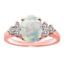 1.25 Ct Oval Cabochon White Simulated Opal White Diamond 18K Rose Gold Ring