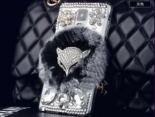 Colorful Deluxe Bling Rhinestone Warm Soft Fur Fox Back Cover For Samsung Galaxy