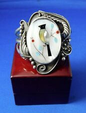Handmade Zuni Inlay Mother of Pearl Sterling Silver Cuff Bracelet Bird Floral