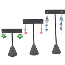 GREY LEATHERETTE EARRING DISPLAY T BAR STAND DISPLAY SHOWCASE JEWELRY DISPLAY