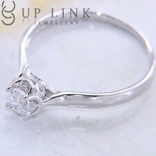 Solitaire UP LINK White Cubic Zirconia 925 Sterling Silver Wedding Ring Jewelry