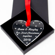 Personalised First Christmas Together Heart Xmas Tree Bauble Married Gift Idea