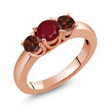 1.29 Ct Round Red Ruby Red Garnet 18K Rose Gold Plated Silver Ring