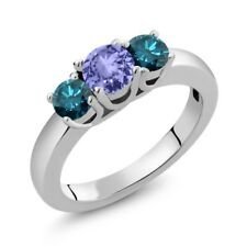 1.00 Ct Round Blue Tanzanite Blue Diamond 925 Sterling Silver Ring