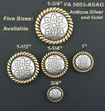 """CONCHO LOT OF 6 ANTIQUE SILVER & GOLD ROUND ROPE EDGE FLORAL WESTERN 3/4""""-1 3/4"""""""