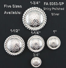 """CONCHOS LOT OF 6 BRIGHT SILVER  ROUND ROPE EDGE FLORAL WESTERN CRAFT 3/4""""-1 3/4"""""""