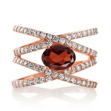 2.13 Ct Oval Red Garnet 18K Rose Gold Plated Silver Ring