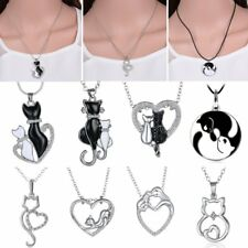 Fashion Crystal Love Heart Animal Cute Cats Pendant Chain Necklace Women Gifts