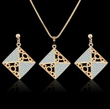 Vogue 18K Multi-Tone Gold Swarovksi Crystal dashing design earring+pendant Sets