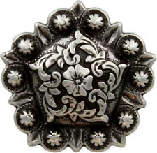 "CONCHOS LOT OF 6 PC ANTIQUE SILVER BERRY PENTAGON RODEO CRAFT 1"", 1 1/4"", 1 1/2"""