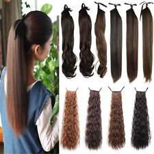 """18"""" Wave 22"""" Straight Tie Up Ponytail Pony Tail Clip in Hair Extension Fake Hair"""