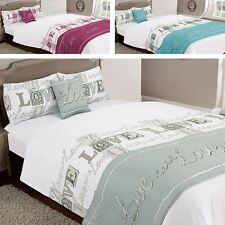 Love You 6 PC Duvet Quilt Set Bed in a Bag Cushion Cover Runner Fitted Sheet