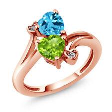 1.81 Ct Green Peridot Swiss Blue Topaz 18K Rose Gold Plated Silver Ring