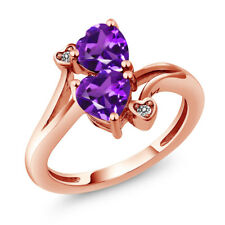 1.33 Ct Heart Shape Purple Amethyst 14K Rose Gold Ring