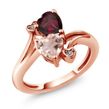1.45 Ct Rose Rose Quartz Red Rhodolite Garnet 18K Rose Gold Plated Silver Ring