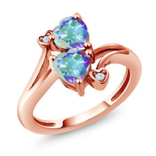 1.93 Ct Heart Shape Mercury Mist Mystic Topaz 18K Rose Gold Plated Silver Ring