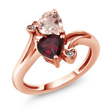 1.45 Ct Red Rhodolite Garnet Rose Rose Quartz 18K Rose Gold Plated Silver Ring
