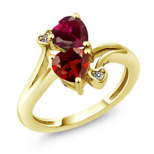 1.90 Ct Heart Shape Red Garnet Red Created Ruby 14K Yellow Gold Ring