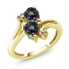 1.93 Ct Heart Shape Green Mystic Topaz 18K Yellow Gold Plated Silver Ring