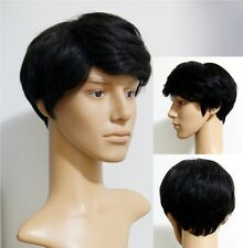 Men 's short full wig wigs hairpiece 100% Real natural human hair easy Restyled