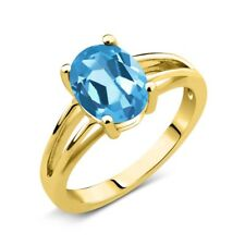 1.80 Ct Oval Swiss Blue Topaz 14K Yellow Gold Solitaire Ring
