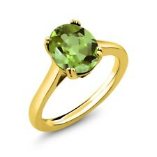 3.03 Ct Oval Green Peridot White Diamond 18K Yellow Gold Plated Silver Ring