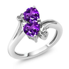 1.33 Ct Heart Shape Purple Amethyst 14K White Gold Ring
