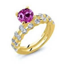 2.94 Ct Pink Created Sapphire White Topaz 18K Yellow Gold Plated Silver Ring