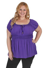 New Plus Size Purple Gypsy Rayon Short Sleeve Top | 18, 20, 22, 24, 26, 28