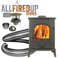5kw Cast Iron Wood Burning Multi Fuel Stove + Complete Package Flexible Liner