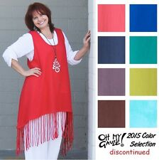 OH MY GAUZE Cotton CACTUS Vest Fringe-Hem Tunic Top OS L/XL/1X  2015 DISC COLORS