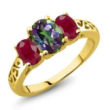 2.50 Ct Oval Green Mystic Topaz Red Ruby 18K Yellow Gold Plated Silver Ring