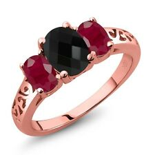 2.32 Ct Oval Checkerboard Black Onyx Red Ruby 18K Rose Gold Plated Silver Ring
