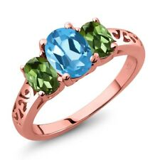 2.30 Ct Oval Swiss Blue Topaz Green Tourmaline 18K Rose Gold Plated Silver Ring