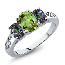 2.33 Ct Oval Green Peridot Green Mystic Topaz 925 Sterling Silver Ring