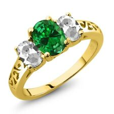 3.10 Ct Green Simulated Emerald White Topaz 18K Yellow Gold Plated Silver Ring
