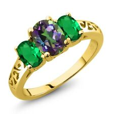 2.10 Ct Oval Green Mystic Topaz Green Simulated Emerald 14K Yellow Gold Ring