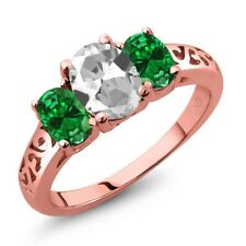 2.00 Ct White Topaz Green Simulated Emerald 18K Rose Gold Plated Silver Ring