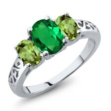 2.00 Ct Oval Green Simulated Emerald Green Peridot 925 Sterling Silver Ring