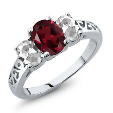 2.35 Ct Oval Red Rhodolite Garnet White Topaz 925 Sterling Silver Ring