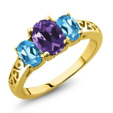 2.00 Ct Oval Purple Amethyst Swiss Blue Topaz 18K Yellow Gold Plated Silver Ring